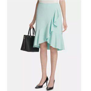 Calvin Klein Teal Career Ruffled Pencil Skirt